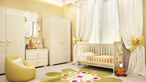 Wallpaper Interior Children's room Toys Design Bed Curtains