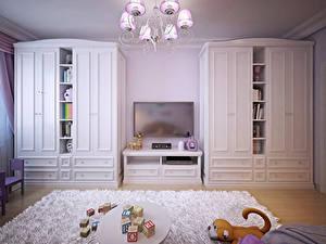 Photo Interior Children's room Toys Design Rug Chandelier
