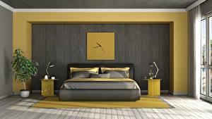 Bakgrundsbilder på skrivbordet Interiör Klocka Rum Sovrum Säng Lampa Formgivning 3D grafik