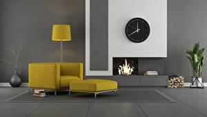 Bakgrundsbilder på skrivbordet Interiör Klocka Rum Design Eldstad Länstol Lampa 3D grafik
