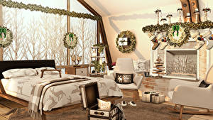 Photo Interior Design Bedroom Bed 3D Graphics