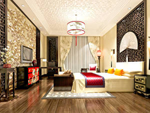 Photo Interior Design Bedroom Bed Chandelier 3D Graphics