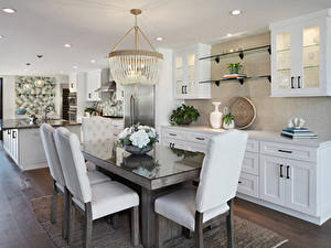 Photo Interior Design Kitchen Table Chair Chandelier