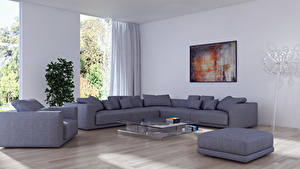 Wallpaper Interior Design Lounge sitting room Couch Wing chair 3D Graphics