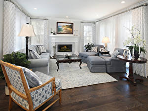 Wallpapers Interior Design Lounge sitting room Couch Wing chair Fireplace