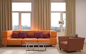 Hintergrundbilder Innenarchitektur Wohnzimmer Fenster Sofa Kissen Tisch Sessel Design Lampe 3D-Grafik