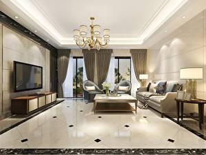 Fotos Innenarchitektur Zimmer Design Fernseher Tisch Couch Lüster Fenster Gardinen Wohnzimmer 3D-Grafik