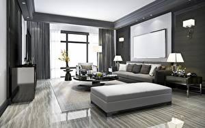 Fotos Innenarchitektur Zimmer Fenster Lampe Fernseher Design Wohnzimmer 3D-Grafik