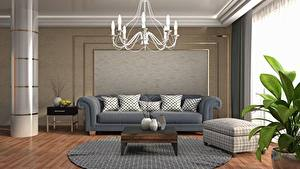 Image Interior Couch Chandelier Lounge sitting room 3D Graphics