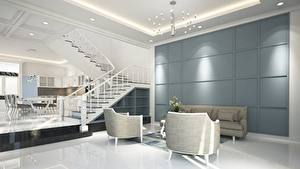 Pictures Interior Stairway Lounge sitting room High-tech style Chandelier Wing chair