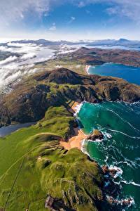 Desktop hintergrundbilder Irland Küste Von oben Donegal, Melmore Natur
