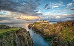 Bilder Irland Küste Leuchtturm Himmel Felsen Wolke Fanad Head Lighthouse Natur
