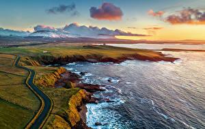 Hintergrundbilder Irland Küste Gebirge Wege Ozean Wolke Von oben Mullaghmore Natur
