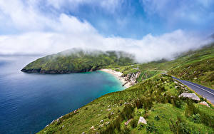 Papel de Parede Desktop Irlanda Costa Estradas Nuvem Achill Island Naturaleza