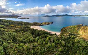 Bilder Irland Küste Meer Bäume Wolke Kleine Bucht Donegal, Sheephaven Bay Natur