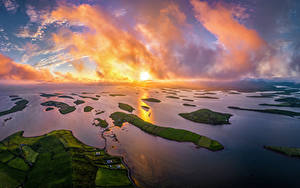 Papel de Parede Desktop Irlanda Costa Amanheceres e entardeceres De acima Nuvem Westport Naturaleza
