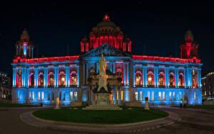 Hintergrundbilder Irland Haus Denkmal Nacht Belfast City Hall