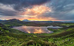 Hintergrundbilder Irland Gebirge See Morgendämmerung und Sonnenuntergang Wolke Donegal