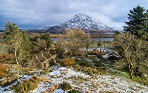Bilder Irland Berg Ruinen Bäume Schnee Steinern Dunlewey Lough, Donegal Natur