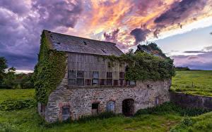 デスクトップの壁紙、、アイルランド、廃墟、草、古い、石で作られ、雲、Ballymagorry、自然