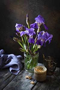 Wallpaper Irises Coffee Boards Cup Sugar Flowers