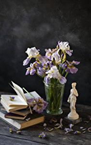 Bilder Schwertlilien Bretter Vase Bücher Kronblätter Blüte