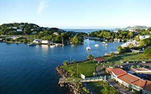 Hintergrundbilder Insel Meer Bucht Saint Lucia, Caribbean sea Städte