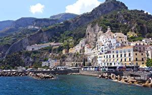 Hintergrundbilder Italien Amalfi Küste Berg Haus Städte