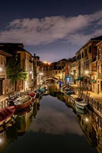 Desktop hintergrundbilder Italien Boot Haus Abend Venedig Kanal Städte