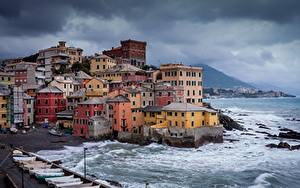 デスクトップの壁紙、、イタリア、海岸、住宅、Boccadasse、都市