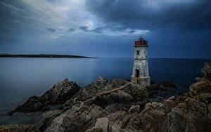 Fotos Italien Küste Leuchtturm Meer Felsen Sardinia
