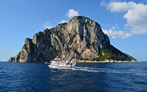 Bilder Italien Insel Meer Binnenschiff Felsen Insel Capri
