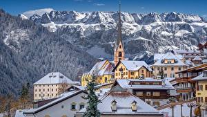 Hintergrundbilder Italien Berg Kirche Gebäude Alpen Santa Cristina Valgardena, Dolomites Städte