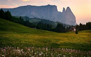 Hintergrundbilder Italien Berg Grünland Sommer Abend Alpen Bäume