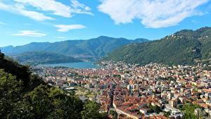 Hintergrundbilder Italien Berg Haus Von oben City Como, Lombardy Städte