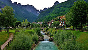 Pictures Italy Mountains Houses Alps Trees Molveno Nature