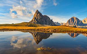 Hintergrundbilder Italien Berg See Spiegelt Wolke Dolomites, Cortina d'Ampezzo