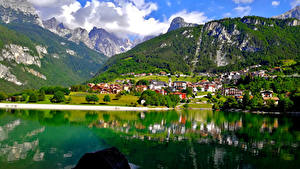 Hintergrundbilder Italien Berg See Alpen Lake Molveno