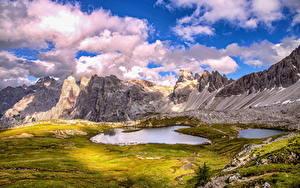 Fotos Italien Berg See Landschaftsfotografie Wolke Alpen HDR Dolomites Natur