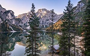 Hintergrundbilder Italien Berg See Alpen Bäume South Tyrol, Dolomites