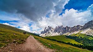 Bilder Italien Gebirge Park Alpen Wolke Puez-Geisler Nature Park, South Tyrol