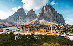 Bilder Italien Gebirge Text Alpen Passo Sella, Dolomites Natur