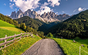 Images Italy Mountains Roads Alps Dolomites, South Tyrol Nature