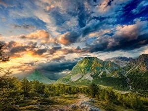 Hintergrundbilder Italien Berg Himmel Landschaftsfotografie Wolke Alpen Bäume HDR Dolomites Natur