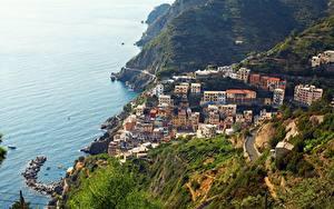 デスクトップの壁紙、、イタリア、公園、海岸、海、チンクエ・テッレ、村、上から、Riomaggiore、都市