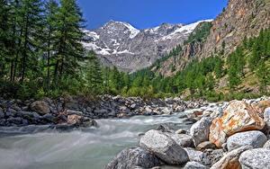 Hintergrundbilder Italien Park Berg Wälder Fluss Steine Valle d'aosta, Gran Paradiso national Park
