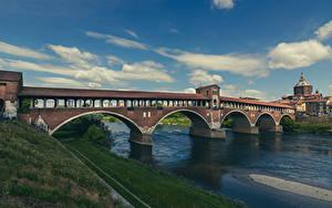 Hintergrundbilder Italien Flusse Brücke Wolke Pavia, Ponte Coperto Städte