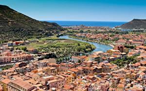 Hintergrundbilder Italien Fluss Haus Von oben Bosa, Sardinia, Oristano Städte