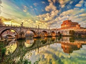 Hintergrundbilder Italien Rom Fluss Brücke Burg Himmel Reflexion Wolke HDR Castel Sant'Angelo Städte