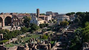 Desktop hintergrundbilder Italien Rom Ruinen Museum Forum Romain Städte